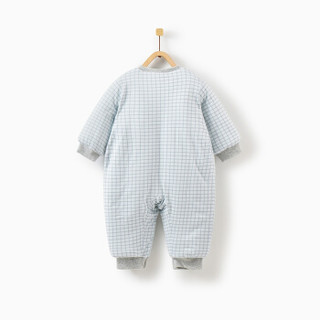 童泰冬季婴儿衣服加厚外出服新生儿棉服连体衣 T94D1507 蓝色 66