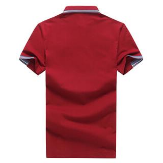 罗蒙(ROMON)短袖Polo衫男 2019夏季新款翻领修身商务休闲印花短袖T恤男装 9TX900349 红色 3XL