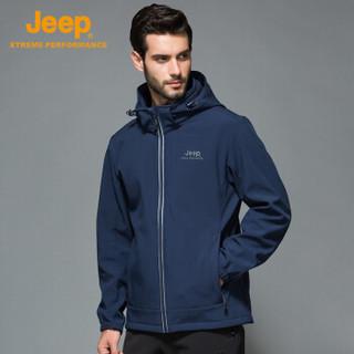 Jeep 男士复合软壳上衣 户外防水防风郊游休闲运动登山服软壳衣 藏青色 L