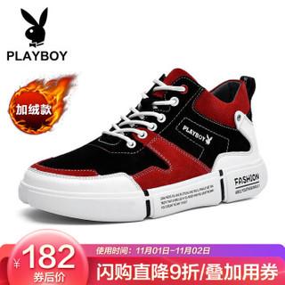 花花公子(PLAYBOY)男士 个性时尚休闲鞋男跑步运动防滑 DS87286-1 黑/红-加绒 44