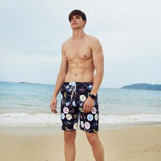 亦美珊情侣海边度假沙滩裤男加大码速干平角五分短宽松温泉游泳裤 YMS186040 黑底印花 M
