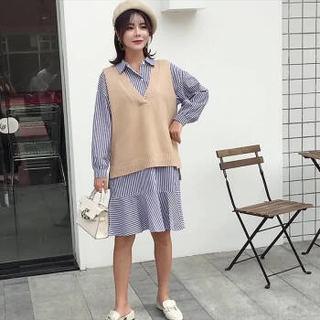 婧麒(JOYNCLEON)孕妇秋装套装毛衣两件套中长款孕妇宽松时尚连衣裙 卡其色 XL码 Jwc5638