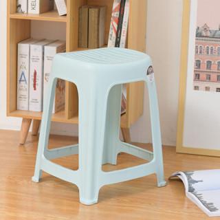 禧天龙 Citylong 塑料凳子 成人高凳加厚家用休闲椅凳防滑换鞋凳镂空浴室凳简易垫脚板凳 清新蓝 1个装 2050