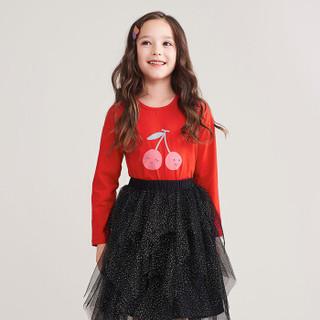 笛莎童装女童长袖T恤秋款中大童小女孩春秋打底衫上衣E11930614大红140