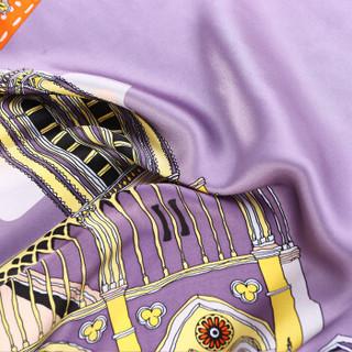 宝石蝶品牌气质大方巾真丝礼品丝巾秋季新款时尚女性桑蚕丝缎面围巾披肩浪漫风情两用/巴黎恋人 珊瑚橙-1号色