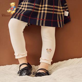 精典泰迪 Classic Teddy童装自营女童打底裤中小童裤子宝宝长裤百搭新品 坑条木耳边-白色 120