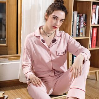 芬腾 睡衣女2019年新品开衫套装纯棉针织长袖家居服女士睡衣8980731411 豆沙 L