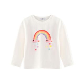 cicie童装女童T恤长袖套头衫印花儿童上衣C93013 白色 110/52A