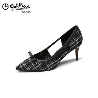 金利来(goldlion)女士尖头优雅格子布拼接侧空单细高跟鞋61991006001P-黑色-37码