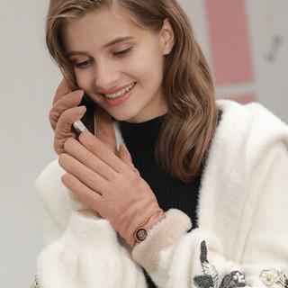 圣苏萨娜手套女冬季加绒加厚保暖韩版可爱学生骑行麂皮绒触屏女士手套S18M876 卡其色 均码