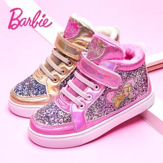 芭比 BARBIE 童鞋 女童运动鞋2019新款时尚保暖小女孩公主鞋冬季儿童鞋子高帮加绒棉鞋 2801 粉色 35吗