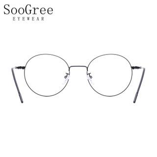 SooGree防蓝光眼镜男女近视光学眼镜框眼镜架复古个性优雅圆框可配镜G9004 其他高度数1.74定制镜片