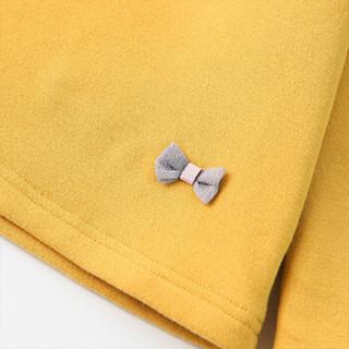 笛莎童装女童冬季中大童儿童磨毛针织衫加绒套头衫打底衫E11949001姜黄120