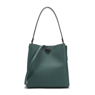 COACH 蔻驰 奢侈品 女士专柜款深绿松石色抛光鹅卵石纹皮革CHARLIE水桶包手提单肩斜挎包 55200 GMM7Q