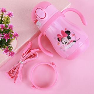 迪士尼(Disney)儿童保温杯带吸管重力球不锈钢水壶小学生幼儿园防摔宝宝水杯 270ML HM3277N 粉色