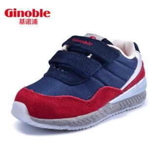 基诺浦春款男女儿童防滑机能鞋宝宝学步鞋软底婴儿童鞋TXG520 藏青/红色 8