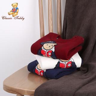 精典泰迪Classic Teddy童装儿童毛衣男女童针织衫婴儿衣服中小童上衣外套外出服新款 绣花小熊-白色 130