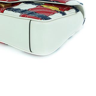 GUCCI 古驰 GG Marmont系列女士红白拼色牛皮波浪纹绗缝单肩斜挎包 443497 DW5HT 9187