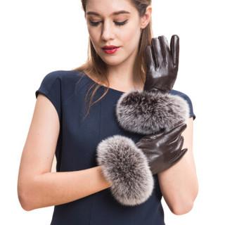 圣苏萨娜手套女 冬季保暖加绒小羊皮 女士开车手套SW-011 咖色 S