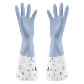 纤诗洁手套洗碗 接袖加绒家务清洁橡胶皮手套厨房耐用防水洗衣手套薄 M码