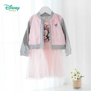 迪士尼(Disney)童装 女童连衣裙套装2019春秋新款米老鼠系列外出套装193T959粉白5岁/身高120cm