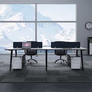 易存职员办公桌现代简约屏风卡座员工位职员桌椅组合 经典黑白四人位+柜椅
