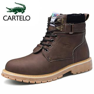 卡帝乐鳄鱼 CARTELO 男靴中帮潮流韩版系带舒适时尚百搭增高防滑缓震工装鞋 KDL910 咖啡 39