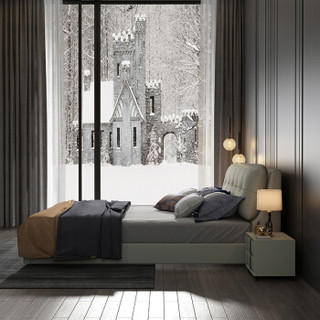 摩高空间1.8米双人床现代简约轻奢皮床主卧床婚床北欧简美床大床