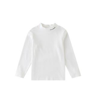 安奈儿童装男童2019秋季新款中大童简约纯色亲肤柔软半高领长袖儿童T恤米白170