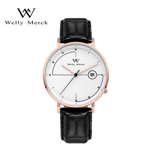 威利默克(welly merck)WM手表 Pioneer系列瑞士石英表 学生时尚轻奢男表WM004M金针白盘皮带