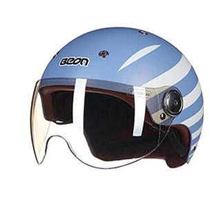BEON摩托车头盔男女四季半盔覆式电动机车安全帽可爱轻便冬季保暖 B-103 XL 哑兰白条条