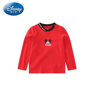 迪士尼 Disney 童装男童宝宝衣服针织长袖T恤可爱上衣2019秋 DA931AE04 大红 90