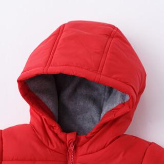 迪士尼(Disney)男童外套秋冬夹棉保暖外出服宝宝前开扣防风连帽加绒上衣184S1014 大红 3岁/身高100cm