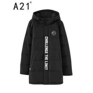 以纯线上品牌A21秋冬新款男装棉衣外套 撞色字母棉服保暖连帽中长款男时尚上衣 R493114035 黑色 170/84A/M