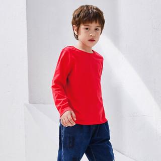 一贝皇城儿男童长袖T恤纯色上衣2019秋季新款中大童洋气打底衫潮1119301027 黑色 150cm