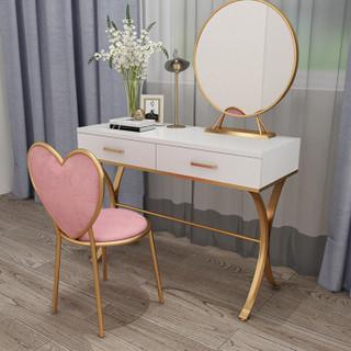 安尔雅 ANERYA 梳妆台卧室北欧ins风简约现代小户型铁艺经济型迷你网红化妆桌子 桌椅镜灯60X