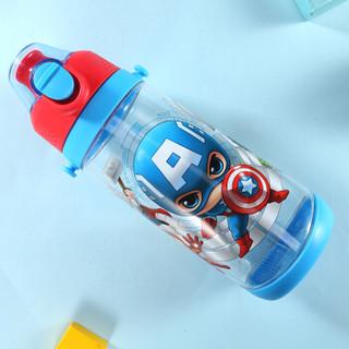 迪士尼(Disney)塑料水杯夏季弹跳直饮杯600ML大容量耐摔Tritan运动水壶背带水瓶 漫威蓝色 HM3228A1
