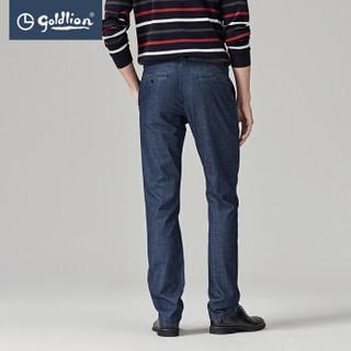 金利来 Goldlion 新款男士棉质舒适微弹时尚休闲牛仔裤长裤 藏蓝 42