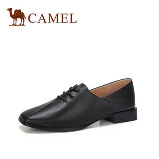骆驼(CAMEL) 女士 文艺学院风牛皮低跟系带单鞋 A91025677 黑色 36