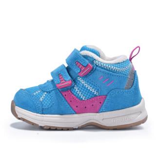 基诺浦冬季新款男女儿童学步鞋加厚保暖棉鞋防滑机能鞋TXG345 蓝色 7