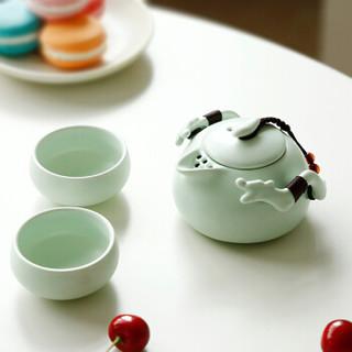 尚帝 旅行茶具套装便携快客杯陶瓷茶壶茶杯干泡茶盘 便携茶具 遨游粉青一壶二杯