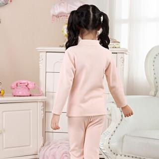 猫人秋冬儿童保暖内衣套装加绒加厚中领印花暖绒男童女童宝宝保暖衣 女童西瓜红 140