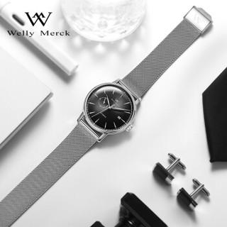 威利默克(welly merck)WM手表 Halo系列瑞士机械表 商务时尚轻奢男表WM015M黑盘银边钢带