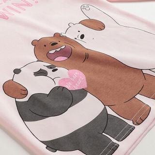 三枪童装 THREEGUN KIDS 三只裸熊系列 新疆棉刷绒女童儿童圆领内衣套装 2C096D0 浅粉红 130
