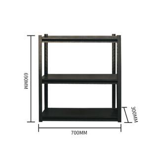 蜂电(FENG DIAN)置物架 钢制黑色三层货架仓储家用厨房阳台收纳铁架子