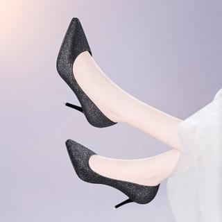 莱卡金顿  女士尖头酒杯跟浅口套脚时装休闲百搭单鞋 6695 灰色 38