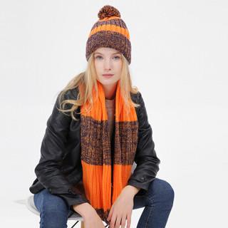 优唯美围巾女冬季保暖潮流时尚百搭毛线帽子围脖二件套装s607 桔黄系