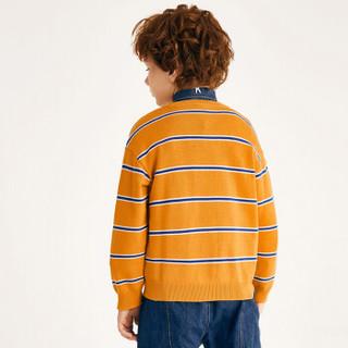 以纯线上品牌A21秋季2019新款童装儿童毛衣男童圆领宽松撞色条纹长袖毛衣 R493343010 桔黄 110cm