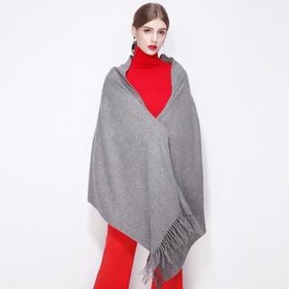 上海故事(STORY Of SHANGHAI)羊毛围巾女士秋冬粗纺加厚披肩 中灰