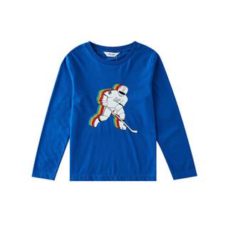 安奈儿童装男童2019秋季新款中大童上衣个性印花长袖圆领纯棉T恤米白120